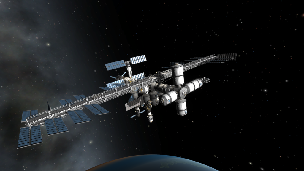 A space station, build in Kerbal: Space Program